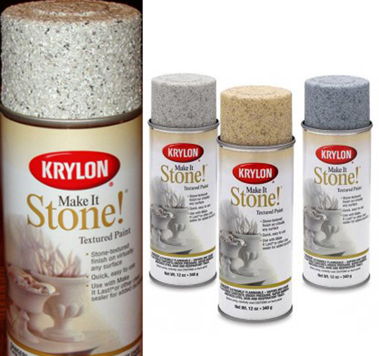 Spray paint plastic pots spray painting kitchen cabinets for Stone spray paint projects