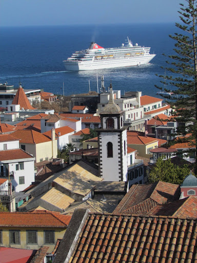 the town and the cruise ship