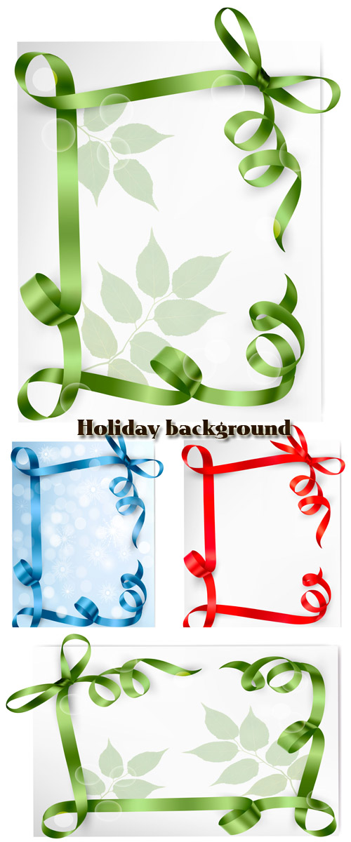 Stock: Holiday background with red, green and blue gift bow with red ribbons
