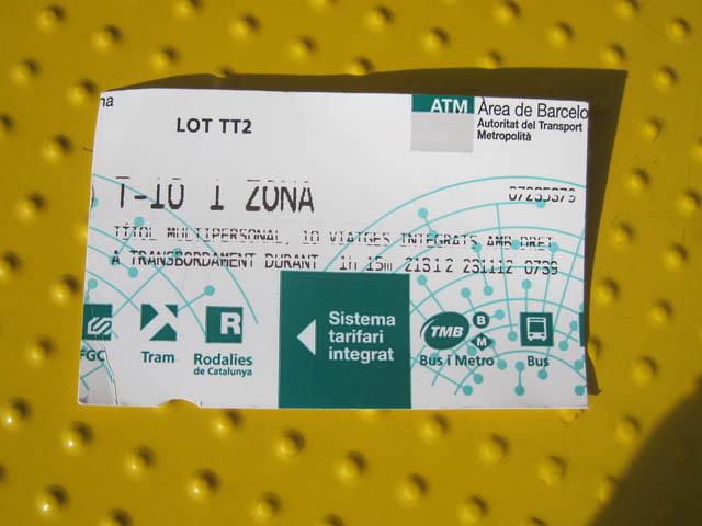 地下鉄バス10回券@バルセロナ