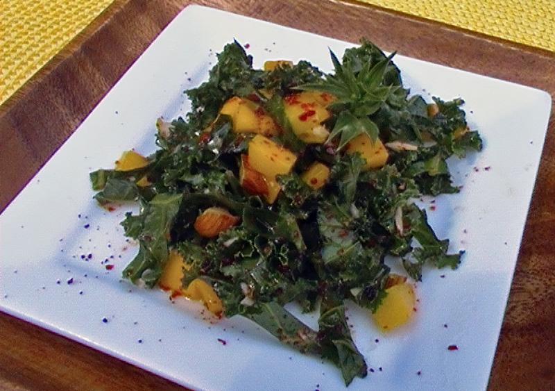 Raw Kale Salad with Mango, Culantro, & Red Chili: