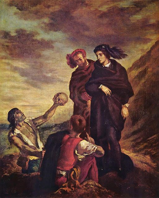 Eugène Delacroix - Hamlet with Horatio, (the gravedigger scene), 1839