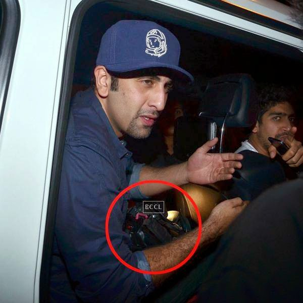Ranbir Kapoor refuses to hand over the video camera after a spat with the media person at Olive, Mumbai. (Pic: Viral Bhayani)