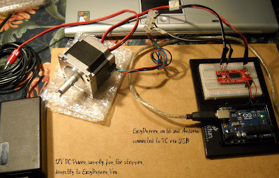 01 - Stepper motor simple test with EasyDriver and Arduino