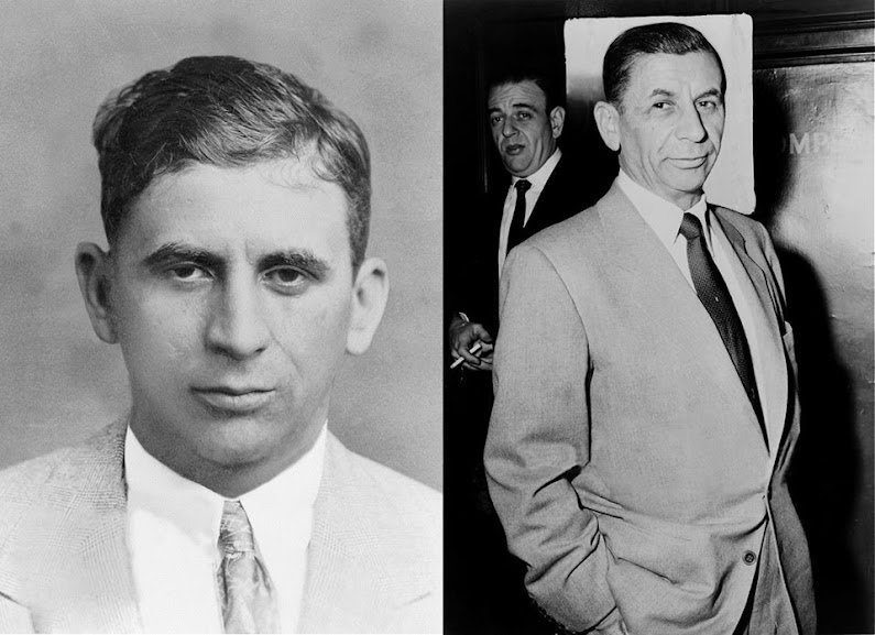 Meyer Lansky na juventude e na velhice. Fotografias: autor desconhecido; e Al Ravenna, World Telegram Staff Photographer, respectivamente.