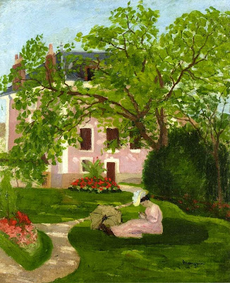 Henri-Charles Manguin - Jeanne with Umbrella, Seated in a Garden of Coulombs