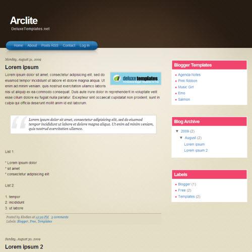 Arclite,blogger,Templates for blogger