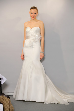 Anne Barge Silk Wedding Dress with belt and large flower