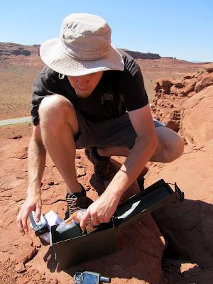 Chris finding a geocache