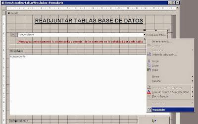 Aplicar la acción correspondiente al botón de comando Readjuntar Tablas en el formulario