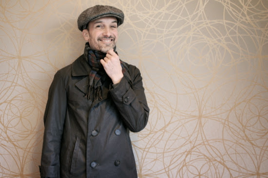 Men's classic pea coat made from Italian waxed canvas bought at Mood Fabrics NYC.
