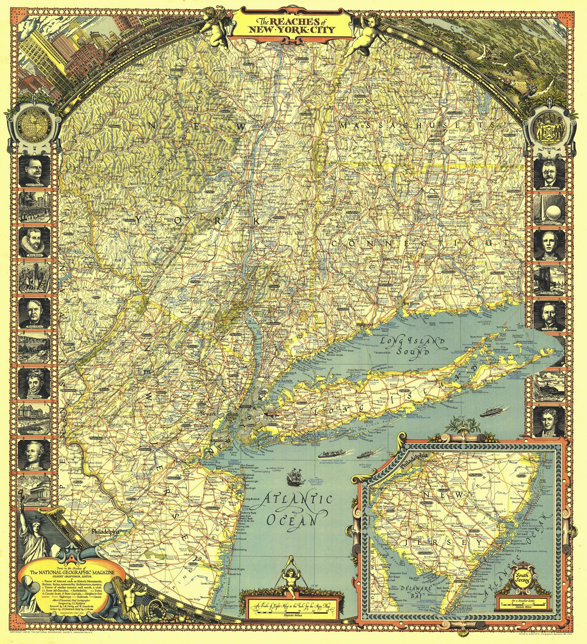 Vintage infographic Reaches of New York City (1939) | National Geographic