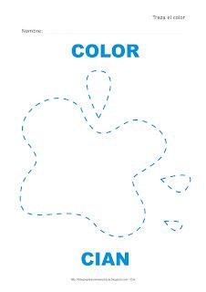 Dibujo para delinear y trazar el color cian