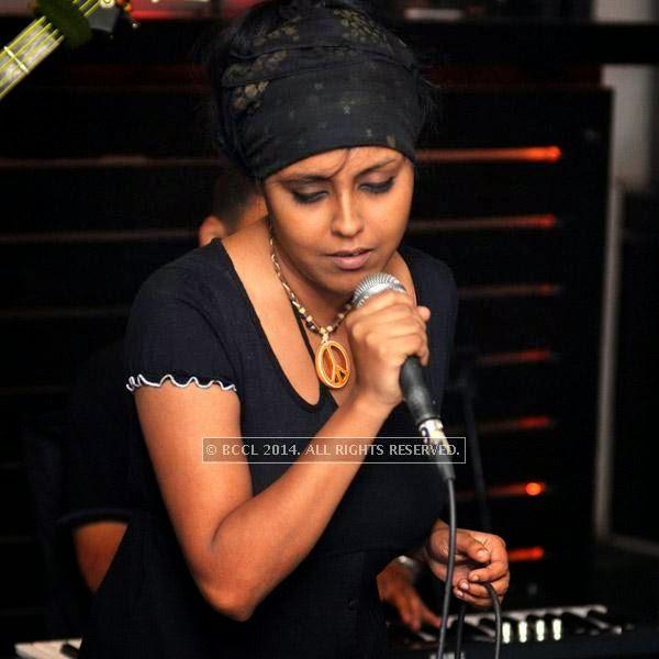 Malabika Brahma  from the band Bramhakhyapa performs at Plush in Kolkata.