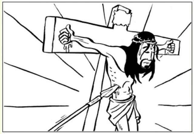 Lanza en el costado de Jesús para colorear