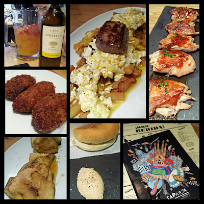 A collage of our eats at Tapas 24 that day for lunch, 3 people and one big pitcher of sangria