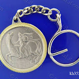 Arabian Knight and Stallion. Traditional Arabic impressions. Silver plated minted brass medal 35 mm in diameter.