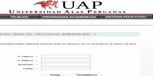 Resultado examen UAP 2012 - I Ingresantes 31 Marzo