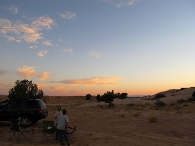 Eatin' dinner at our camp near the Temple Mountain/Goblin Valley road junction