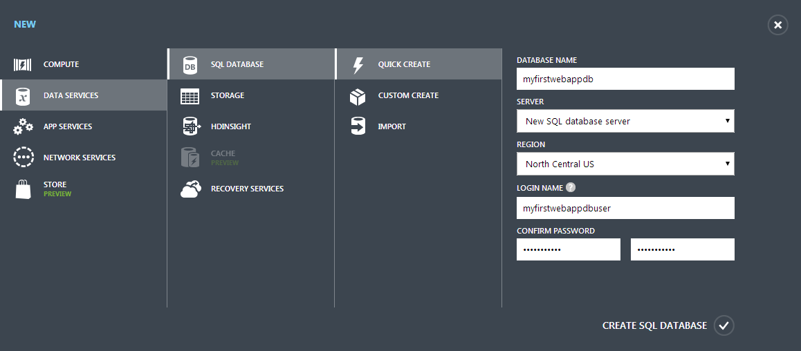 New SQL Database on Azure