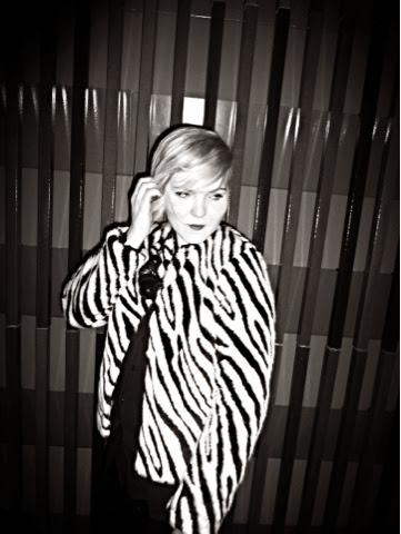 black and white furry zebra jacket