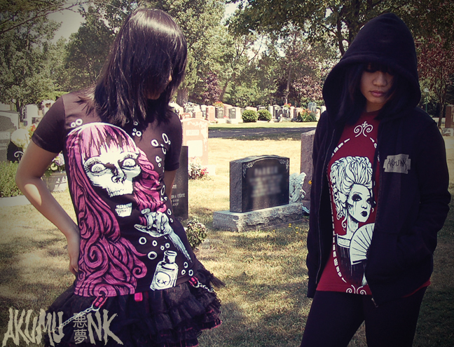 akumuink, cemetery, horror fashion, japanese fashion, goth shirts, goth fashion, emo tshirts, vampire freaks tshirt, suicide girls tshirt