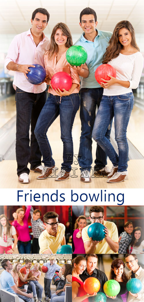 Stock Photo: Friends bowling