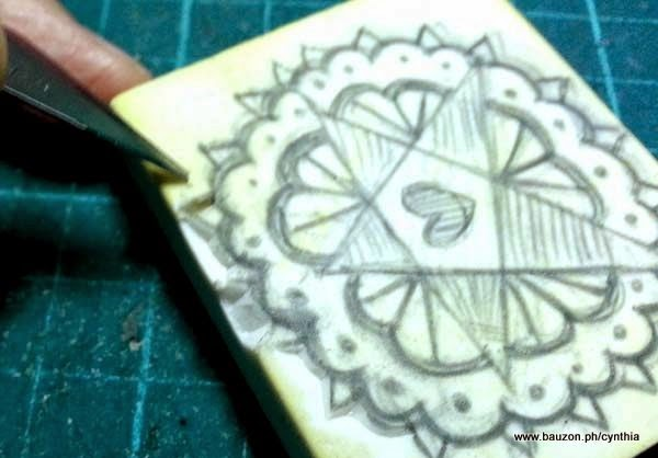 how to carve a rubber stamp with an X-acto knife