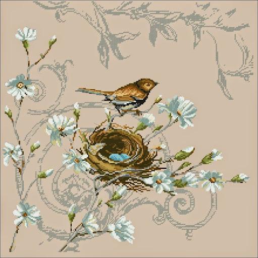 Wren and Magnoliacross stitch pattern