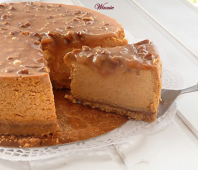 Pumpkin Cheesecake with Pecan Caramel Coating from Something Sweet