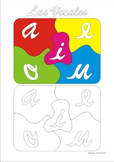 Dibujo de las vocales en un puzzle