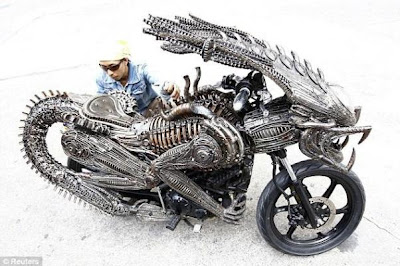 Alien theme-inspired bike made from recycled auto and bike parts.
