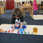 Preschooler in Montessori private school in Irvine focusing on his work.