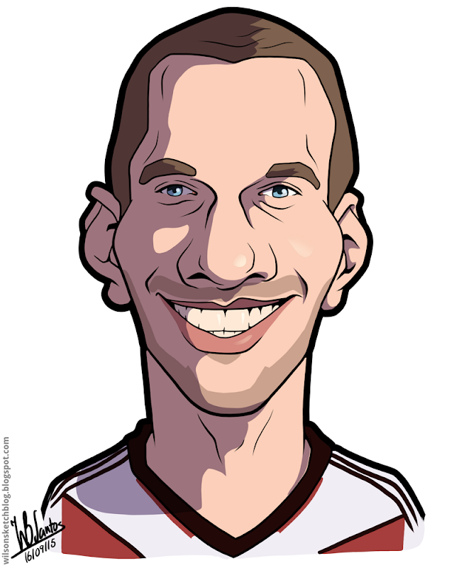 Cartoon caricature of Lukas Podolski.