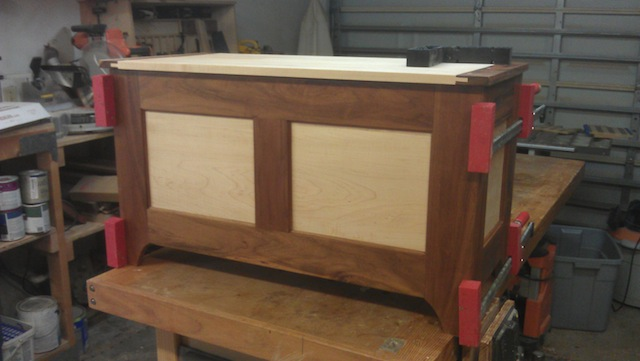 The hope chest assembled on the bench