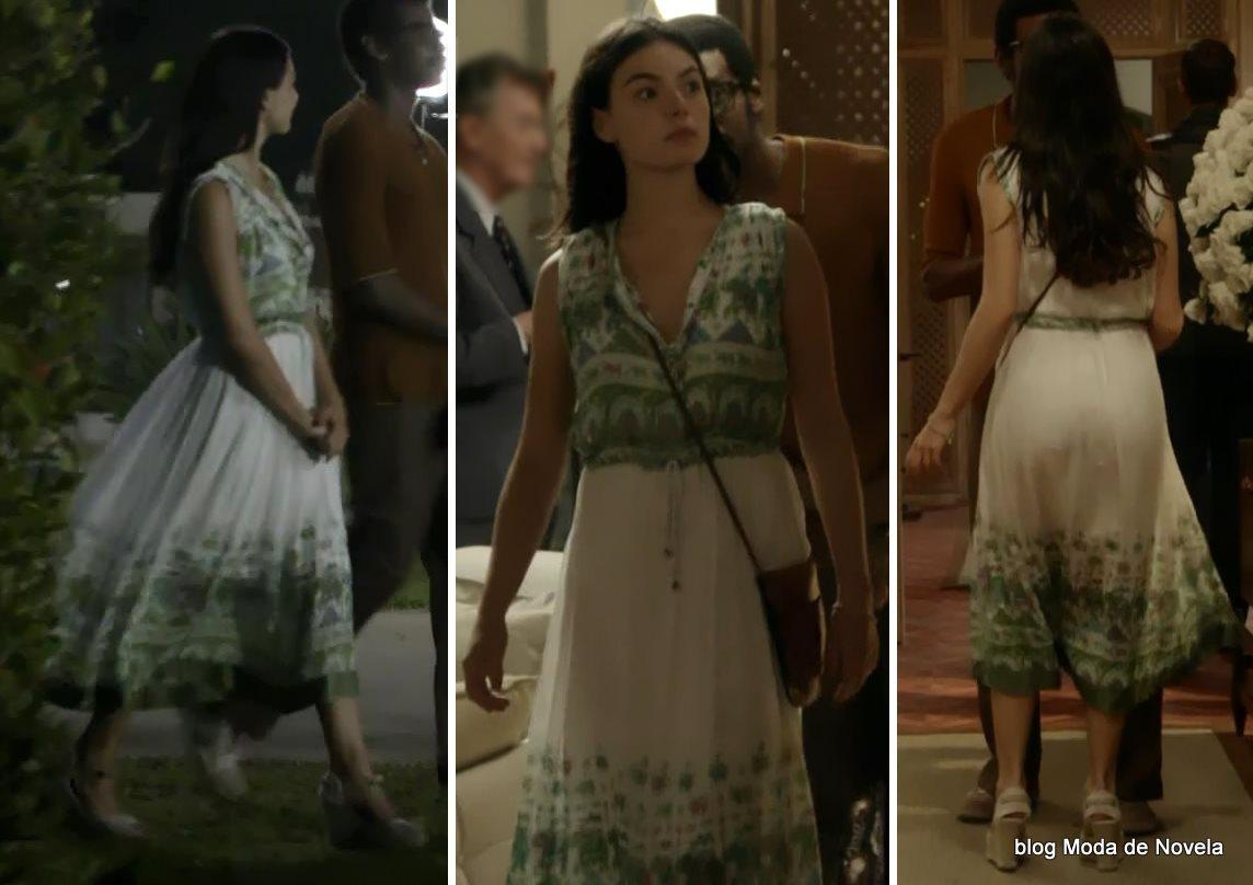 moda da novela Boogie Oogie - look da Sandra com vestido longo dia 7 de agosto