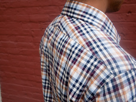 Shoulder fit shot of Ratio Clothing Ogden Plaid shirt