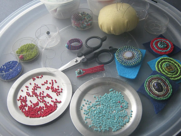 Beaded Rings and Pendants in Progress