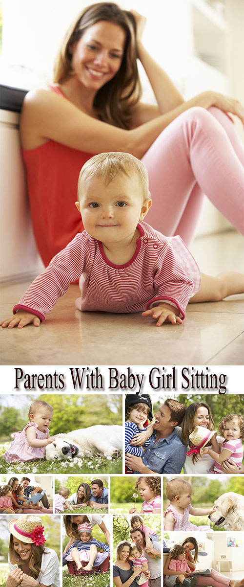 Stock Photo: Parents With Baby Girl Sitting