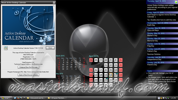 Active Desktop Calendar 7.96