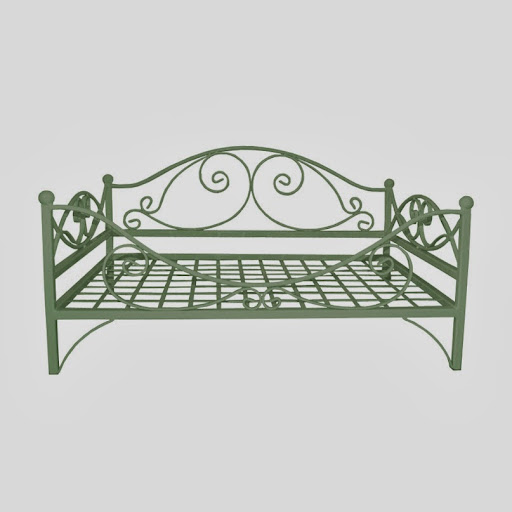 Classic Metal Frame Raised Dog Bed Moss Green
