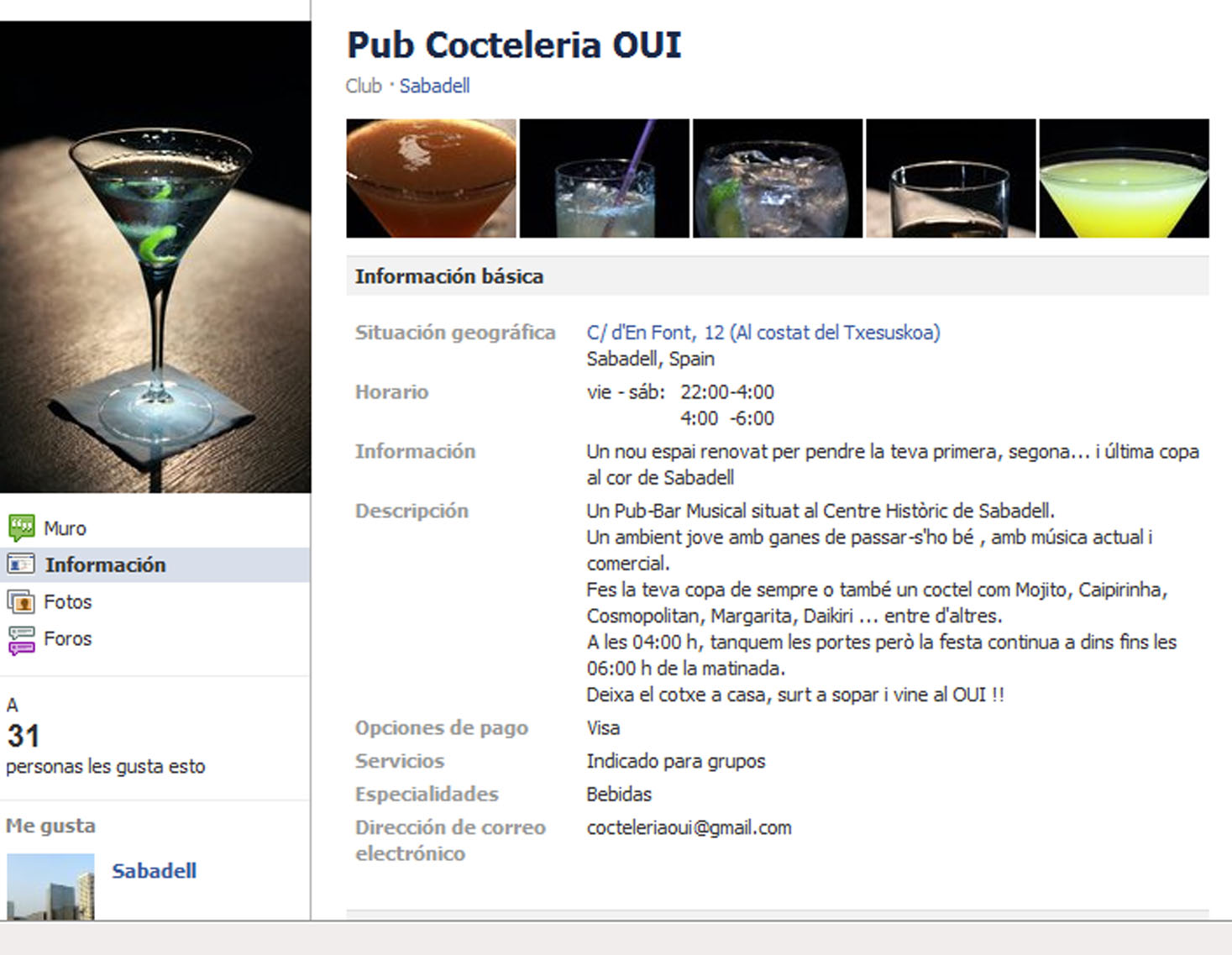 Alternativa a la ZH de Sabadell: Pub Cocteleria OUI   El Gurú de la ...