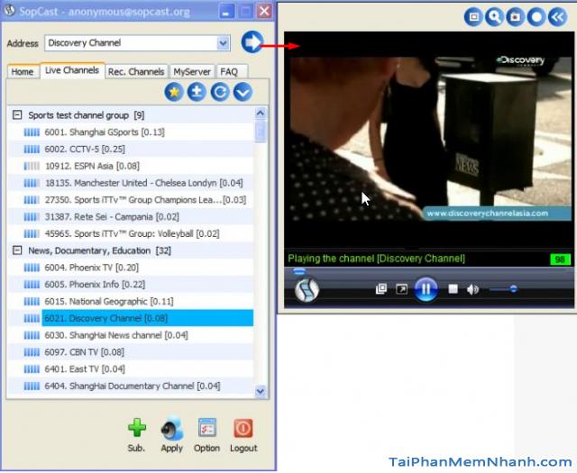 giao diện sopcast lúc đang xem tivi trực tuyến