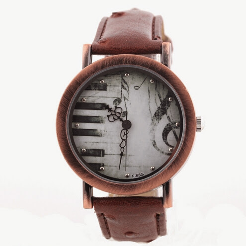 Relogio Feminino Fashion Vintage Watch Paino Music Quar
