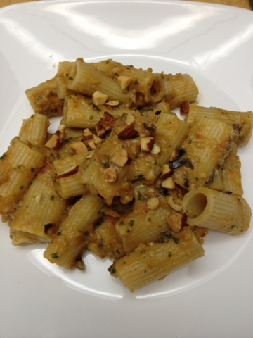 Eating Dinner With My Family: Rigatoni with Eggplant Purée