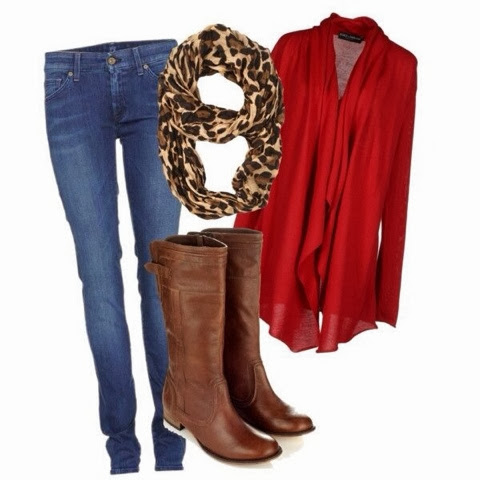 Cheetah scarf, red jacket, jeans and long boots for fall