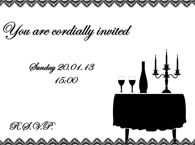 January dinner party invite black white fancy