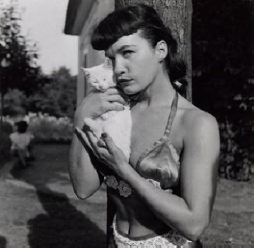 Bettie Page and a cat 2