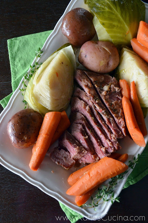 Slow Cooker Corned Beef and Cabbage via KatiesCucina.com