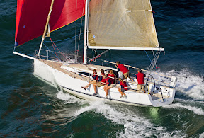 J/111 one-design offshore racer cruiser sailboat- sailing fast downwind